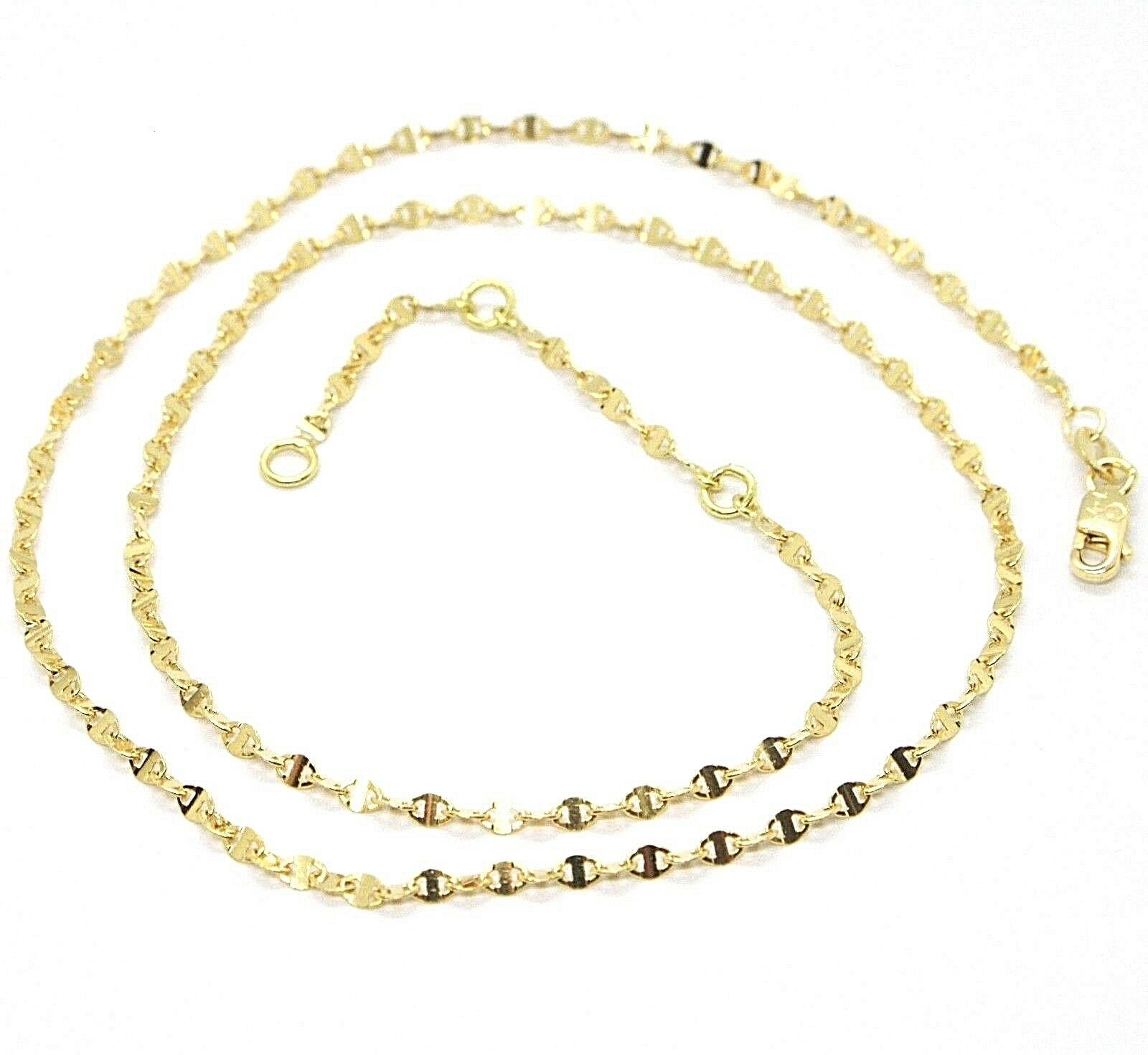 18K YELLOW GOLD CHAIN FLAT NAVY MARINER OVAL BRIGHT LINK 2 MM, 18 INCHES