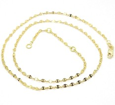 18K YELLOW GOLD CHAIN FLAT NAVY MARINER OVAL BRIGHT LINK 2 MM, 18 INCHES  image 1