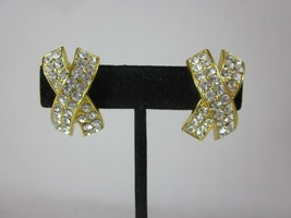 Vintage Gold Tone Letter X Clear Crystal Clip On Earrings  - $14.84