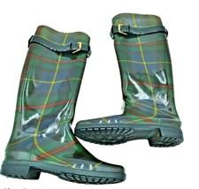Lauren Ralph Lauren Rossyln Green Plaid Buckle Logo Accent Rubber Rain Boots 5 - $23.01