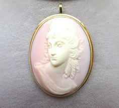 14k Gold Genuine Natural Angel Skin / Conch Shell Cameo Pin Pendant (#J3... - $325.00