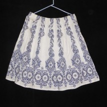 Jones New York Signature Womens Skirt Size 8 White Blue Paisley Pleated ... - $11.46