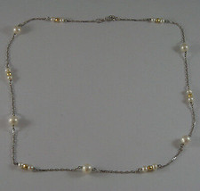 SOLID 18K WHITE GOLD NECKLACE WITH FRESHWATER WHITE PEARL AND YELLOW GOLD BALLS image 2
