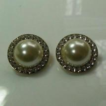 Vintage Faux Pearl & Rhinestone Clip Earrings - $12.50