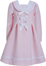 Bonnie Jean Little Girl 4-6X Pink Triple Bow Jacquard Houndstooth Dress/Coat Set