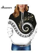 Raisevern 2018 Couples Piano Hoody Fashion Music Note Steetwear Sweatshi... - $24.99