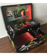 Vintage Japan Black Enamel Hand Painted Music Jewelry Box V - $34.64