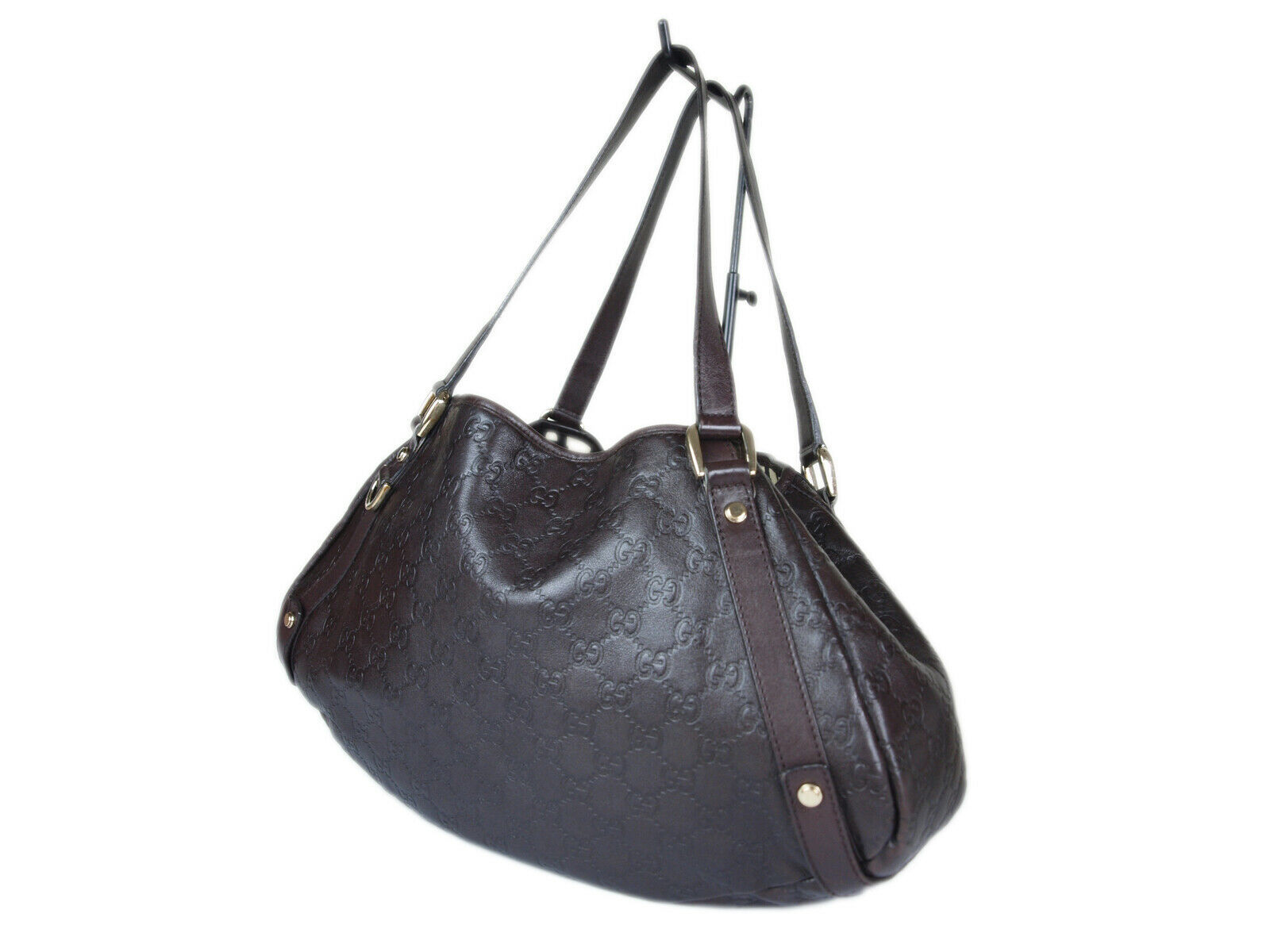 Auth GUCCI Guccissima Leather Dark Brown Shoulder Bag GT2152