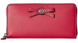 Coach Amaranth Pink Leather Bow Turnlock Tie Zip Around Wallet 53903 NWT - $138.11