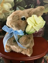 Handmade Straw Bunny Rabbit Figure Holding Yellow Paper Rose CUTE ! 6 in... - $46.23
