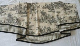Waverly Black Toile Valance Curtain Country Life Scalloped Layered Toppe... - $25.96