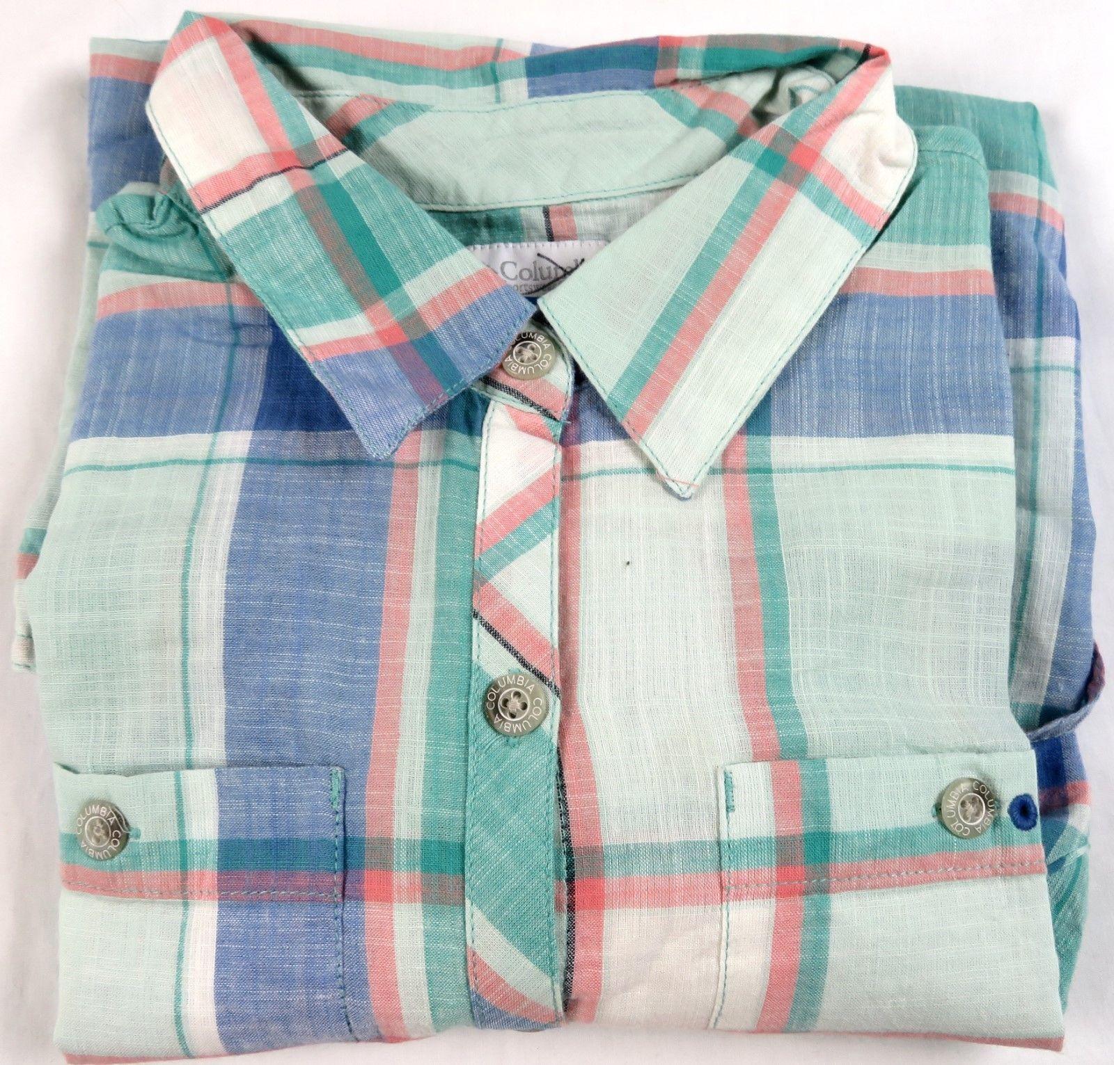 Columbia PFG Women's Shirt 2-pocket Long Sleeve Woven Button Down Lime Plaid