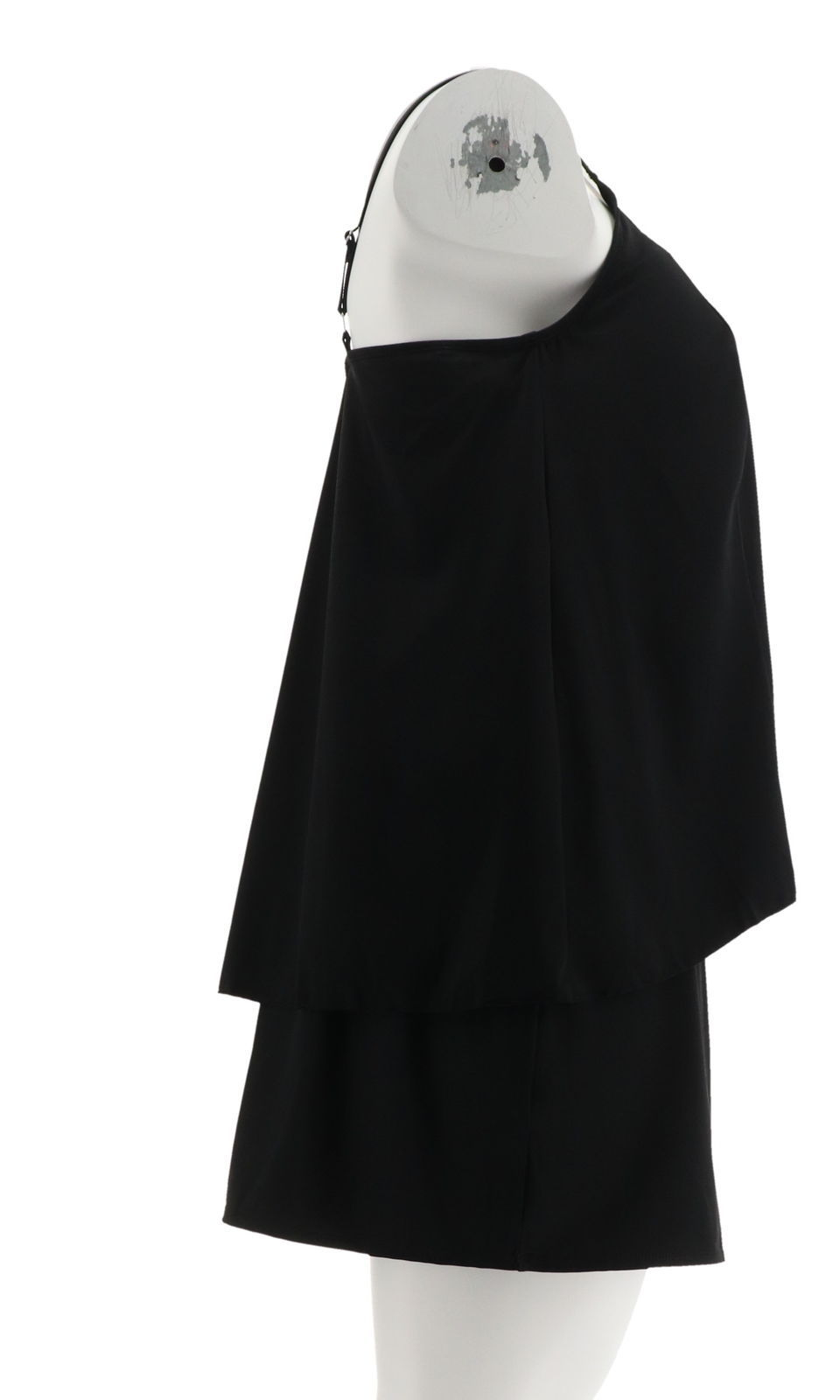 Denim& Co Beach Hi-Low Tankini Swimsuit Skirt Black 12 NEW A303155