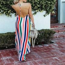 Women's Trendy Summer Rainbow Stripe Maxi Sundress image 4