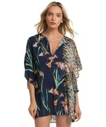 Trina Turk Fiji Floral Mix Swimsuit Cover Up Tunic Caftan Dress S - $103.50