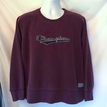 Vintage Champion Spell Out Logo Sweatshirt Purple Plum Boxy Size L Large - $75.46