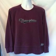 Vintage Champion Spell Out Logo Sweatshirt Purple Plum Boxy Size L Large - $75.46