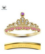Yellow Gold Plated Solid 925 Silver Disney Princess Rapunzel Wedding Cro... - £39.63 GBP