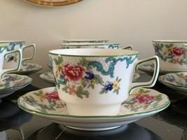 Vintage Royal Doulton Floradora Green Tea Cup and Saucer Set of 7 - $79.00