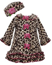 Bonnie Jean Baby Girls 3M-9M Brown/Pink Leopard Print Fleece Coat/Hat Set