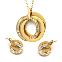 Round Crystal Necklace With Earring Sets,Stainless Steel Jewelry Sets - $19.67