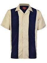 Maximos Men's Retro Charlie Sheen Two Tone Guayabera Bowling Casual Dress Shirt