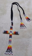 Native American Glass Beads CROSS Car Mirror Hanger Opalescent White Bla... - $49.99