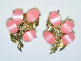 Vintage Gold Tone Pink Thermoset Flower Clip Earrings - $29.70