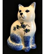 Ceramic Cat Blue Floral Hand Painted Kitty Figurine Mid-Century 10 inche... - $23.76