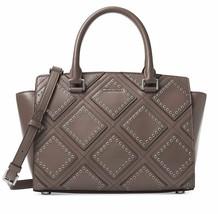 MICHAEL Michael Kors Womens Selma Leather Grommet Satchel Handbag Gray M... - $383.13