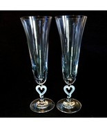 2 (Two) LENOX FOREVERMORE HEARTS Crystal Champagne Frosted Heart Stemmed... - $39.72