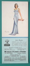 PIN-UP Girl Brunette in Blue + AD for Durkee Famous Foods - 1939 INK BLO... - $6.75