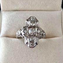 Diamond Art Deco Filigree Engagement 18K W Gold Cocktail Dinner Right Hand Ring  - $900.00