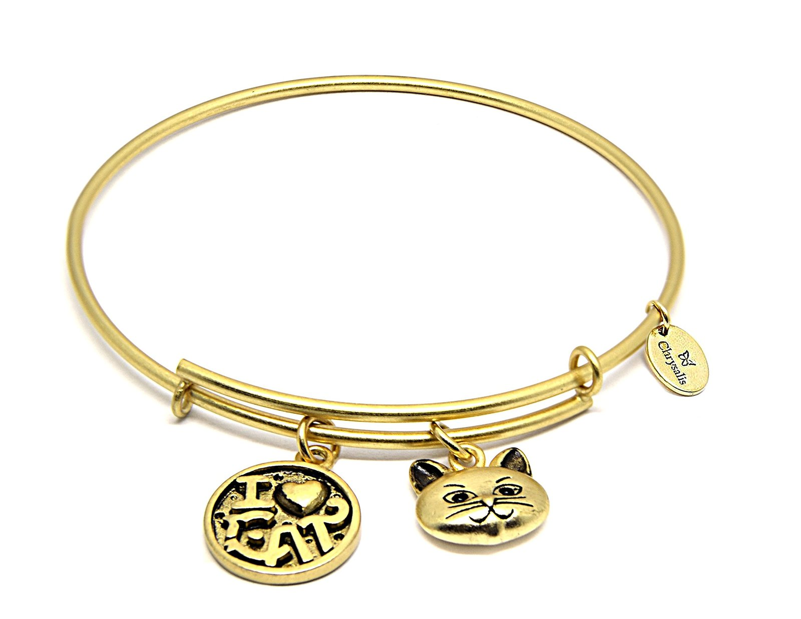 "Chrysalis ""I Love Cat"" Crbt0712gp Gold-plated Expandable Bangle"