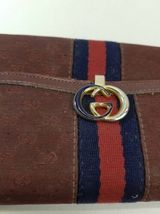 Vtg GUCCI Burgundy Canvas Leather GG Monogram Wallet Clutch Made in Italy image 3