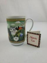 NWT RUSS BERRIE FOUR SEASONS WHITE & GRAY CAT w/ MULTI-COLORS TEA COFFEE... - $12.99