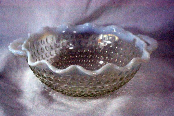 Primary image for Anchor Hocking 1946 Moonstone Clear Opalescent 2 Handled Crimped Bowl
