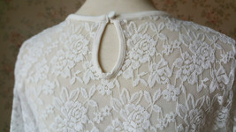 3 Quarters Sleeve White Lace Top Loose Fitting Bridesmaid Crop Lace Top image 6
