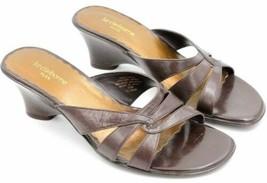 Liz Clairborne Flex Women Wedge Slide Sandals Size US 7.5M Brown Leather - $45.99