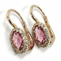 18K ROSE GOLD LEVERBACK FLOWER EARRINGS, OVAL PINK CRYSTAL, CUBIC ZIRCONIA FRAME image 2