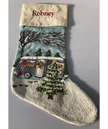 "POTTERY BARN CREWEL EMBROIDERED CAMPER AIRSTREAM CHRISTMAS STOCKING ""Rob... - $79.19"