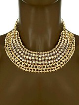 Casual Everyday Statement Chunky Necklace Earrings Set Clear Rhinestones - $14.73