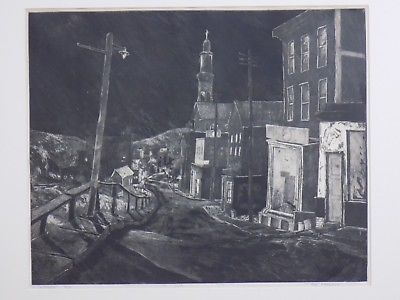 Jim Ferrell Signed Limited Edition Pittston Engraving Framed City Town Scene