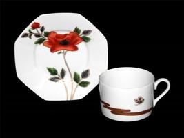 Fitz & Floyd Fleur et Nuages Flower Cup & Octagton Saucer Gold Accents DISC - $17.99