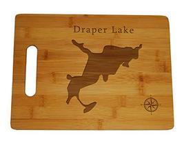 Draper Lake Map Engraved Bamboo Cutting Board 9.75x13.75 inches Florida - $34.64
