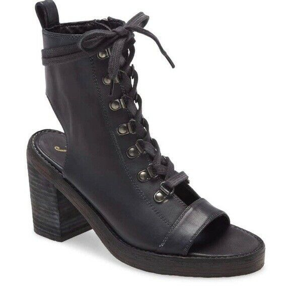 New Free People City of Lights Leather Lace Up Heel Boot Anthropologie Size 38 - $135.00