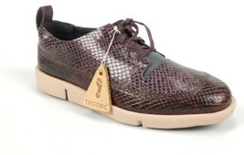 Clarks Womens Tri Nia Aubergine Snake Effect Leather Trigenic Shoes 6.5 New  - $63.03