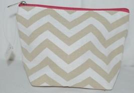 Ganz Brand ER39002 Style 101 Chevron Design Beige Tan Pink Zipper Makeup Bag image 2