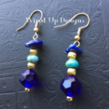 18k Gold Plated Pre-Columbian Style Dangle Earrings Lapis Lazuli,Turquoi... - £9.53 GBP