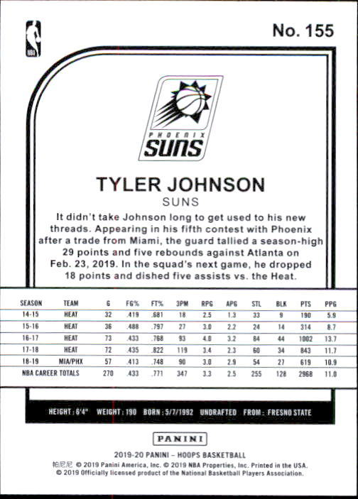 Tyler Johnson 2019-20 Panini NBA Hoops Card #155 image 2